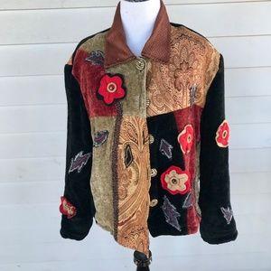 Julia Kim Embellished Appliqués Velvet Jacket BOHO